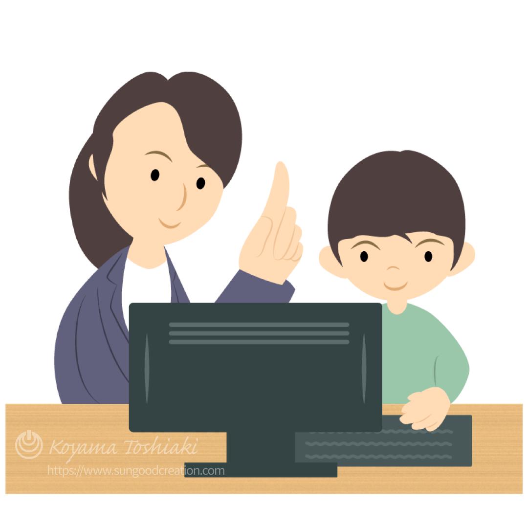 プログラミング教室で学ぶ男の子(女性講師)のイラスト