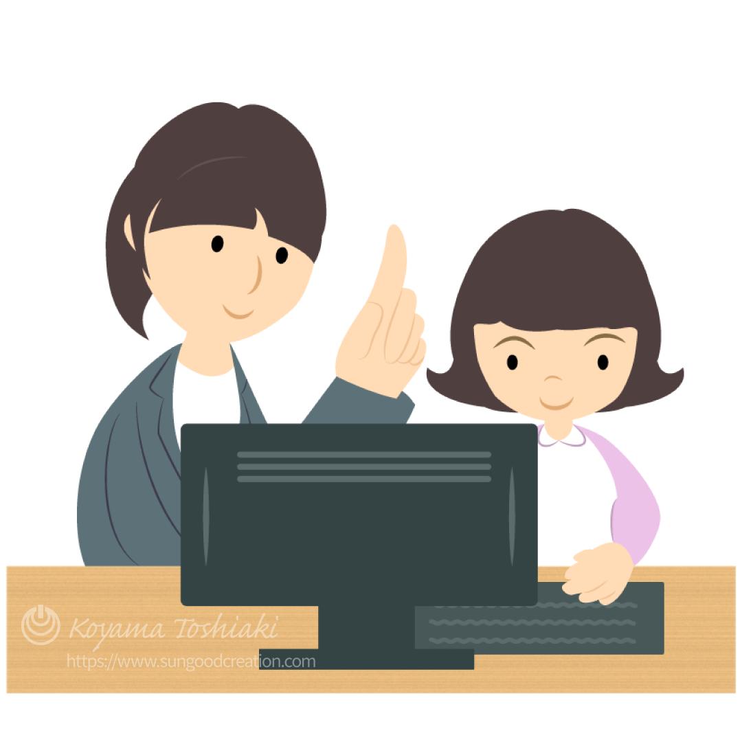 プログラミング教室で学ぶ女の子(女性講師)のイラスト